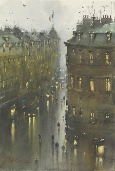Joseph Zbukvic - Tryon Gallery » wet evening, Paris
