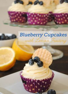 Here is a delicious, fun and pretty recipe for blueberry cupcakes with a refreshing lemon frosting for the Fourth of July!