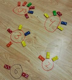Decomposing numbers with dominoes - start with a number in a circle and have…