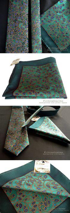 Silk Pocket Square Hand Painted Square Green Hanky Navy Pocket