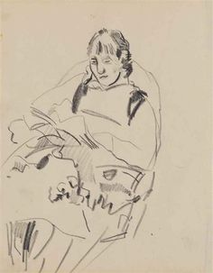 Artwork by Rik Wouters, Femme Lisant, Made of Graphite on paper