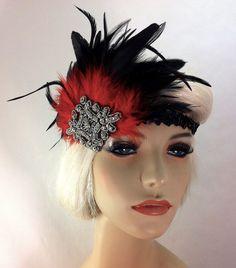 Flapper Headband,1920's Headpiece, Art Deco Headband, Crystal Rhinestones, Red and Black, Great Gatsby