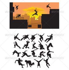 Parkour Silhouette  #GraphicRiver         Nice Silhouette, in this files include ai and eps 8 version. you can open it with adobe illustrator cs and other vector supporting applications. i hope you like my design, thanks   visit my silhouettes collection graphicriver /collections/3119286-silhouettes     Created: 28September12 GraphicsFilesIncluded: VectorEPS #AIIllustrator Layered: No MinimumAdobeCSVersion: CS Tags: action #backflip #black #brave #building #city #extreme #flying #free #gym…