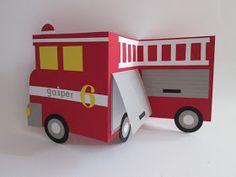 Papirnate radosti: Gasilska Firefighter Birthday Cakes, Fire Truck Craft, Masculine Birthday Cards, Masculine Cards, Whimsy Stamps, Birthday Cards For Men, Kids Cards, Fire Trucks, Greeting Cards Handmade