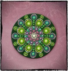 Mini Original Round Painting Jewel Drop Mandala por ElspethMcLean