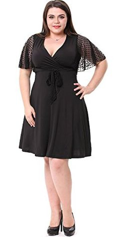 Women's Cocktail Dresses - Sapphyra Womens Elegant Plus Vneck Lace Sleeve Crochet Midi Dress Size 1X5X * More info could be found at the image url.