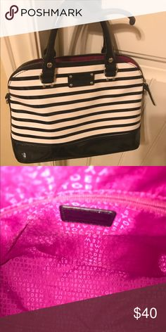 Kate Spade Handbag Small black and white Kate Spade. Previously bought on Posh but a little to small for me. Beautiful pink inside. Does have long strap. Patent leather. kate spade Bags Crossbody Bags