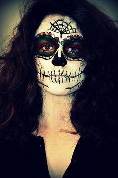 Note to self: color around eyes before dark/black. dia de los muertos make-up   Flickr - Photo Sharing!