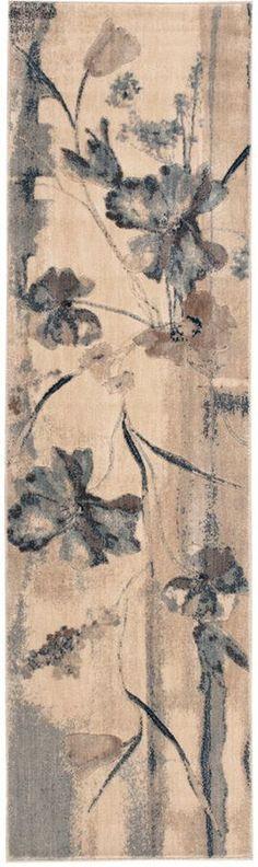"""Nourison Somerset Ivory/Blue Art Flower 2' x 5'9"""" Runner Rug"""