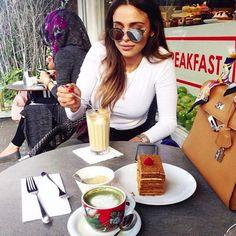 Alia Abdulla at our L'ETO, enjoying her cake and coffee