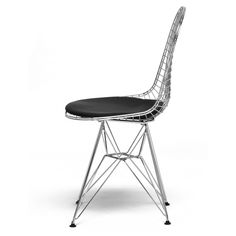 Avery Mid-Century Modern Wire Chair with Black Cushion