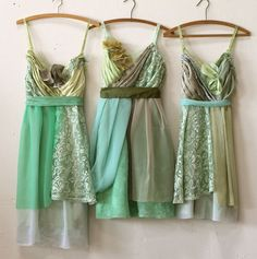 custom bridesmaids dresses in greens by Armour sans Anguish