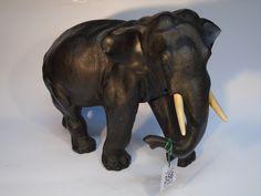 MEIJI PERIOD c1900 JAPANESE BRONZE ELEPHANT WITH IVORY TUSKS.CHARACTER MARK TO BASE - GENRYUSAI SEIYA
