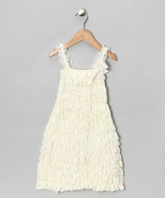 Take a look at this Ivory Lace Ruffle Dress - Infant, Toddler & Girls by Under The Hooded Towels on #zulily today!