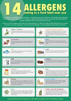 The 14 Allergens Poster. Food Safety Training, Food Safety Tips, Posters Uk, Safety Posters, Food Safety And Sanitation, Gym Food, Food Science, Food Chemistry, Workplace Safety