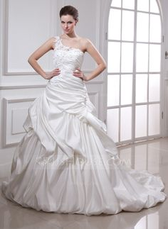 Ball-Gown One-Shoulder Chapel Train Ruffle Beading Appliques Lace Flower(s) Lace Up Regular Straps Sleeveless General Plus No Winter Ivory Satin Wedding Dress