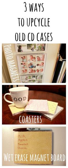 Turn old cd cases into photo magnets, coasters, or wet erase magnet boards.