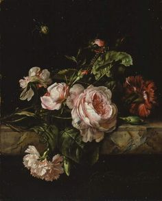 William Van Aelst; Group of flowers (1675)  watercolorjournal.wordpress.com