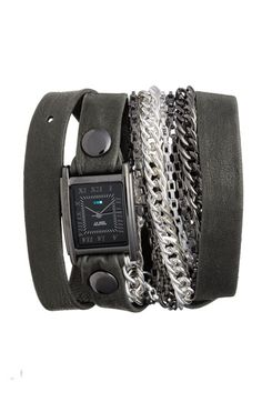 "La Mer ""Icelandic"" Leather and Chain Wrap Watch"