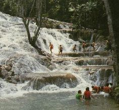 Dunn River in Jamaica.  We were there is the summer but man the water was cold.