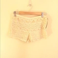 Cream lace shorts Perfect for a night out or brunch! Cream colored lace shorts, super comfy and cute! From Pitaya Shorts