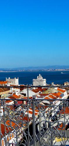 ღღ Lisbon, Portugal - Santa Justa Elevator - From the top viewing platform there are spectacular views over the picturesque squares, the omnipresent castle and Tagus River. | Travel Impressions From Lisbon, Cidade Vibrante