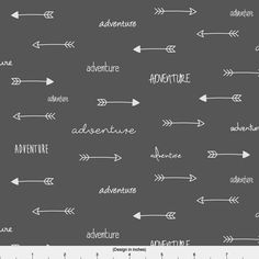 Adventure Arrows Fabric - Adventure Arrows Cloud On Charcoal By Sierra Gallagher - Nursery Decor Cotton Fabric By The Yard With Spoonflower chez Spoonflower sur Etsy Studio