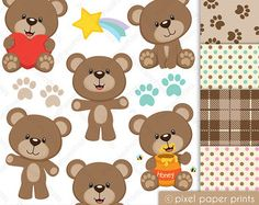 Baby Boy Teddy Bear Clip Art and Scrapbooking Paper Set blue