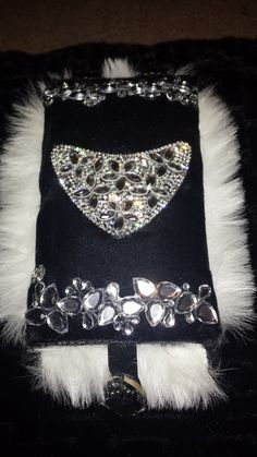 LOVELY LAURA J DESIGNS Couture Black velvet with Swarovski Crystal and Fax White fur