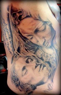 Jesus and Mary Ribs by Ryan @ Studio Tattoo Henderson NV 89011 702-564-7841