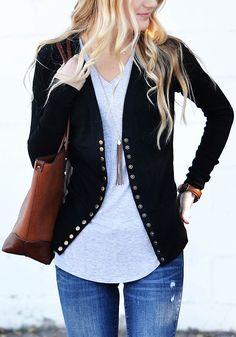 Black Plain Single Breasted Long Sleeve Cardigan Sweater
