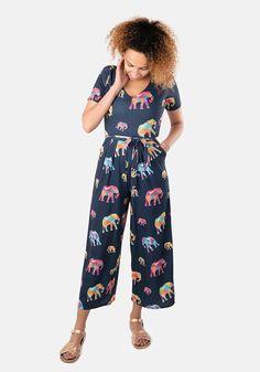 Nel Elephant Print Culotte Jumpsuit