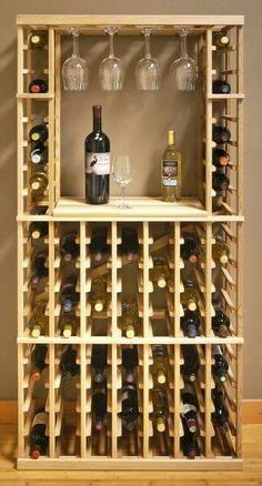 Build your own wine rack - 25 creative ideas- Weinregal selber bauen – 25 kreative Ideen Vinho, ripas de madeira - Woodworking Plans, Woodworking Projects, Wood Projects, Furniture Projects, Wood Furniture, Woodworking Courses, Woodworking Shop, Diy Hat Rack, Wine Rack Design