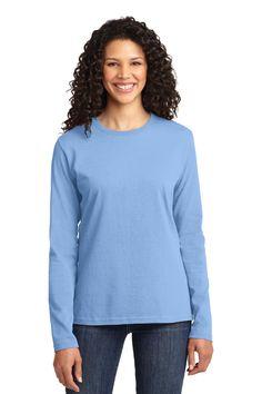 Port & Company Ladies Long Sleeve 5.4-oz 100% Cotton T-Shirt. LPC54LS Light Blue