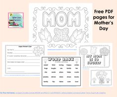 Mother's Day Free PDF, 5 pages, including color pages, writing frame, and word bank