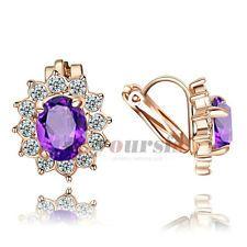 Amethyst Jewelry 18K Rose GP Use Purple Austria Crystal Clip-on Earrings E1382