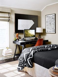 Small guest bedroom and work space. I like all of the neutrals, although it feels a little heavy to me.