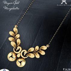 Inspired by nature's simplistic beauty; mayuri #gold #mangalsutra. #goldmangalsutra #modernmagalsutra #tanmaniyamangalsutra #longmangalsutra #mangalsutradesigns #weddinmangalsutra #mangalsutrapendant #fancygoldmangalsutra