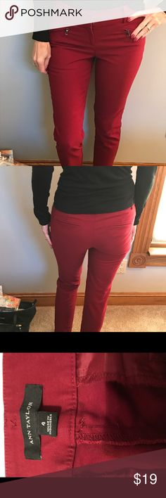 Ann Taylor zipper front ankle pants The color of a dark red wine. (Called Vino by Ann Taylor) These slim fit pants break up the work week days of wearing black, gray and brown pants. Ann Taylor Pants Ankle & Cropped