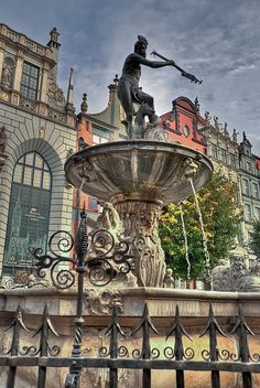 Neptune Fountain, Gdansk, Poland, designed by Abraham van den Blocke, erected in… Danzig, Travel Around The World, Around The Worlds, Poland Country, Gdansk Poland, Visit Poland, Old Churches, Central Europe, New City