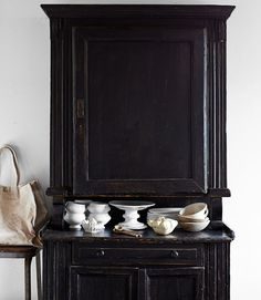 antique cupboard with ironstone :: Country Living ::