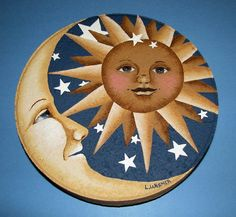 sun and moon on a rock but will work for wood too!