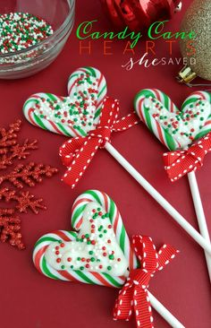 These Candy Cane Hearts are so easy and fun to make, and a great gift idea from She Saved.