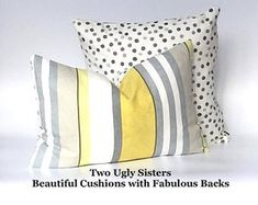 Grey Yellow Stripe Cushion Stripe Rectangle Cushion Cover Polka Dot Pillow Grey Pillow Sham Yellow Cover Free Shipping Two Ugly Sisters Modern Cushions, Floral Cushions, Striped Cushions, Grey Cushions, Scatter Cushions, Fabric Storage Baskets, Yellow Interior, Polka Dot Fabric