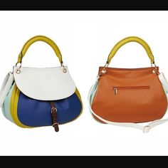 Big Buddha Colorblock Handbag This is such a cute handbag! It is Colorblock in vegan leather. The color of the front is cobalt blue with yellow surrounding it and a yellow handle. The latch is a chocolate brown while the sides of the bag are an aqua color. The bottom is chocolate brown and the back of the bag is a cognac brown. Bag is in good condition with Minimal signs of use-the inside has small stains that are barely noticeable and don't show in the photo. Lost the crossbody strap, so it…
