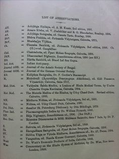 List of Abbreviations, that appear in The Bower Manuscript
