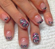 Zebra nails with silver, pink and black