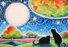 The Coming of Fall - 5x7 Mellow Autuumn Black Cat  Print