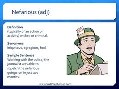 Word of the Day NEFARIOUS! Use this vocabulary flashcard to help study for the SAT or ACT from www.SATPrepGroup.com