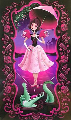 "Disney Wonderground Gallery Matted Print ""Tightrope Twist"" By Jeff Granito The outer border designs Haunted Mansion Disney, Haunted Mansion Tattoo, Haunted Mansion Wallpaper, Dark Disney, Cute Disney, Disney Magic, Downtown Disney, Disney Parks, Unicornios Wallpaper"